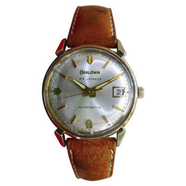 Bulova Gold Plated Stainless Steel & Leather Automatic Dress Vintage 31mm Mens Watch