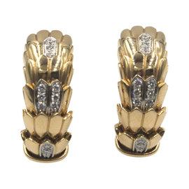 Roberto Coin 18K Rose Gold 0.25 Ct Diamond Horse Mane Fashion Earrings