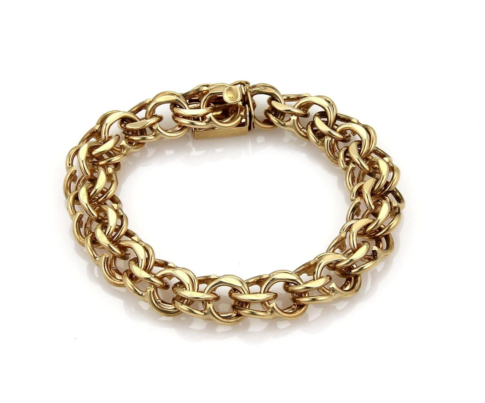 """Image of """"14k Yellow Gold Double Round Chain Link Bracelet"""""""
