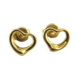 Tiffany & Co. 18K Yellow Gold Elsa Peretti Open Heart Stud Earrings