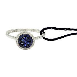 Damiani Bliss Forme Sapphire & Diamond 18k White Gold Ring Size 6.75