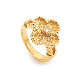 Van Cleef & Arpels Alhambra 18K Yellow Gold Diamond Ring Size 6