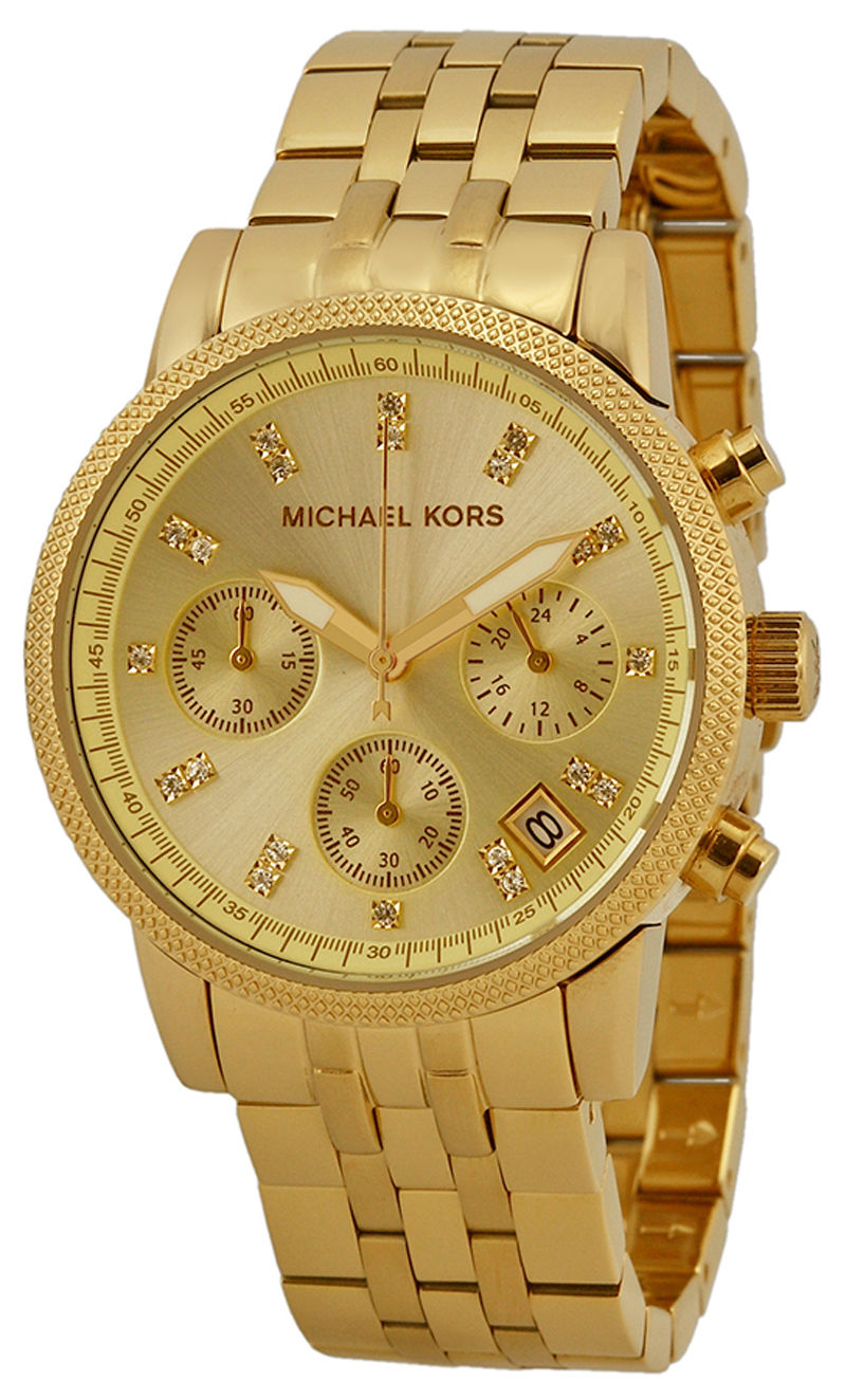 """Image of """"Michael Kors Ritz Mk5676 Gold Tone Stainless Steel 36mm Womens Watch"""""""