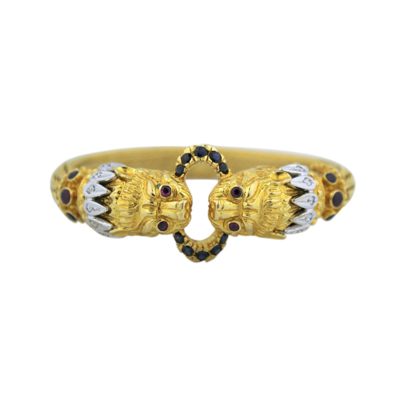 "Image of ""Lalaounis 18K Yellow Gold Diamond, Ruby, Sapphire Bracelet"""