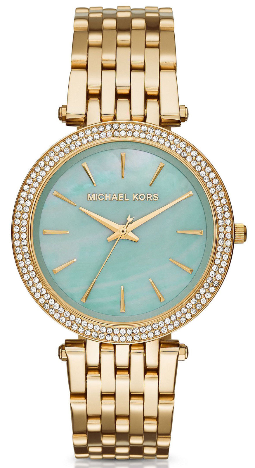 """Image of """"Michael Kors Darci Mk3498 Gold-Tone Stainless Steel Aqua Mother of"""""""
