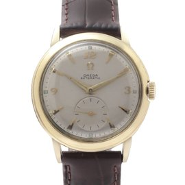 Omega Speidel 2.689.450 Automatic 14K Gold Leather Strap 34mm Vintage Mens Watch