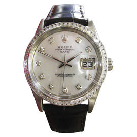 Rolex Oyster Perpetual Date 1500 Stainless Steel & Leather Mother of Pearl Diamond Dial 34mm Mens Watch