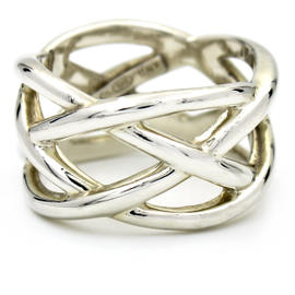 Tiffany & Co. Sterling Silver Weave Knot Ring Size 6