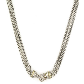 David Yurman 18K Yellow Gold and Sterling Silver Diamond Buckle Two-Strand Wheat Chain Necklace