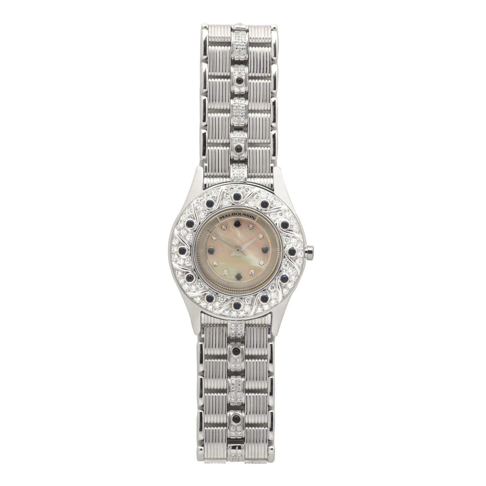 "Image of ""Mauboussin R.63683 18K White Gold Quartz 25mm Womens Watch"""