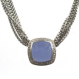 David Yurman Albion Sterling Silver Blue Chalcedony and Diamond Pendant Multi-Strand Choker Necklace