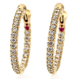 Roberto Coin 18K Rose Gold Small Petite Inside-Out 0.52 Ct Diamond Hoop Earrings