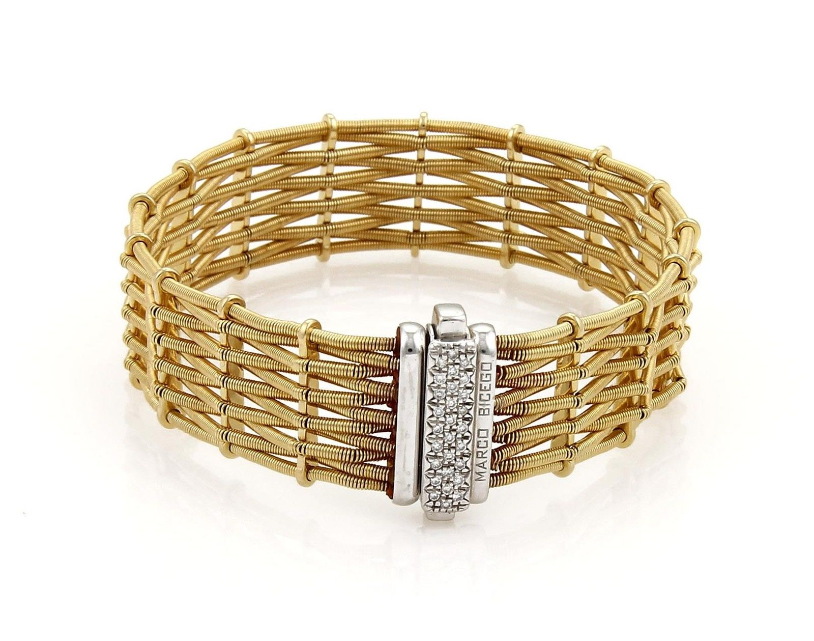 "Image of ""Marco Bicego 18K Two Tone Diamond Woven Bracelet"""