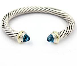 David Yurman 14K Yellow Gold Blue Topaz Cable Classics Bracelet