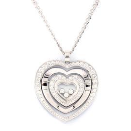 Chopard 18K White Gold Diamond Happy Hearts Necklace