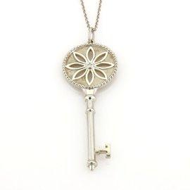 Tiffany & Co. 925 Sterling Silver Diamond Daisy Flower Key Pendant