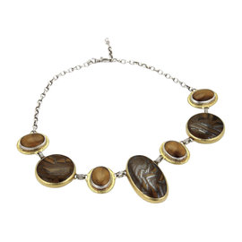 Gurhan Galapagos Sterling Silver & 24K Layered Yellow Gold Tigers Eye Assorted Link Necklace