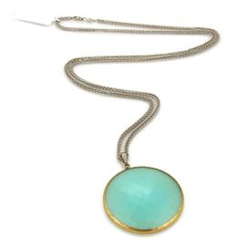 Gurhan 24K Layered Gold & Sterling Silver Aqua Chalcedony Pendant Necklace