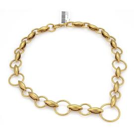 Gurhan Wheatla 24K Yellow Gold Hand Hammered Circles & Wheat Link Necklace