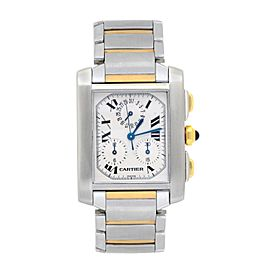 Cartier Tank Francaise 2303 18K Yellow Gold / Stainless Steel with White Dial 28mm Womens Watch