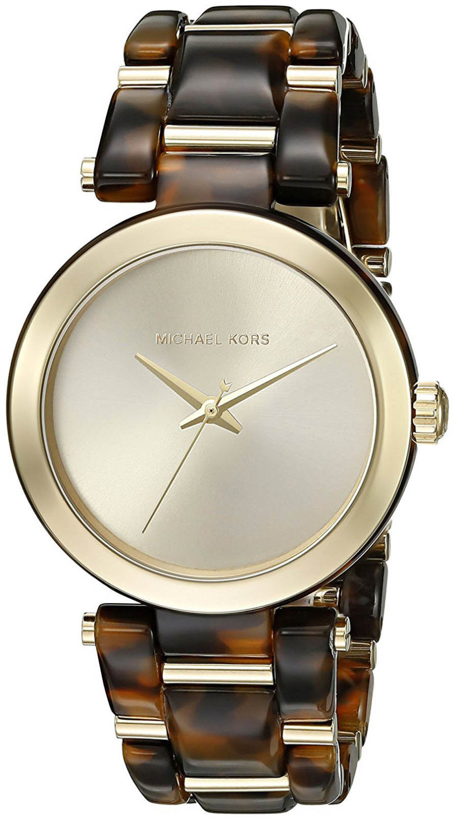 "Image of ""Michael Kors Mk4314 Delray Tort Gold Tone Stainless Steel & Acetate"""