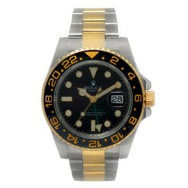 Rolex GMT Master II 116713 18K Yellow Gold / Stainless Steel with Black Dial 40mm Mens Watch
