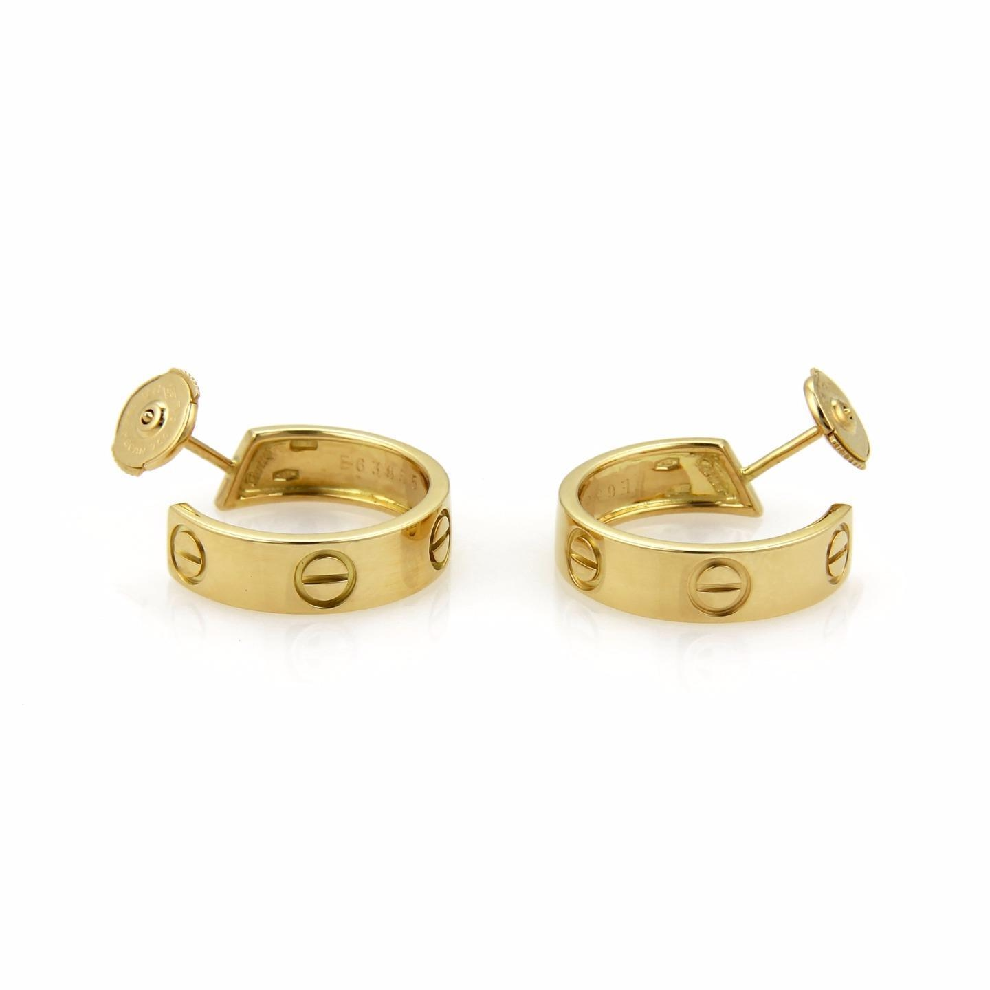 "Image of ""Cartier Love 18K Yellow Gold Hook Earrings"""