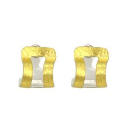 Gurhan 925 Sterling Silver & 24K Yellow Gold Open Curved Hoop Earrings