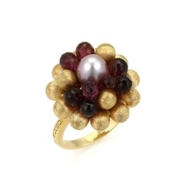 Marco Bicego Paradise 18K Yellow Gold Tourmaline & Pearl Cluster Ring Size 7.5