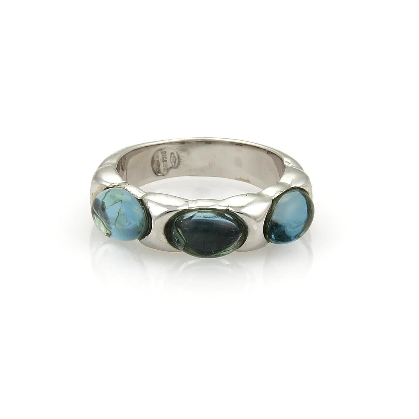 "Image of ""Marco Bicego 18K White Gold & Blue Topaz Band Ring Size 7.5"""