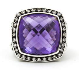 David Yurman 925 Sterling Silver Albion Moonlight Amethyst And Diamonds Ring Size 7