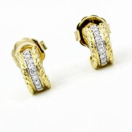 David Yurman 18K Yellow Gold Diamonds Cable Classics Huggie Earrings