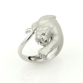 Carrera y Carrera 18K White Gold Diamond Panther Ring Size 6