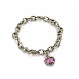 Judith Ripka 925 Sterling Silver & Pink Topaz Heart Charm Chain Bracelet