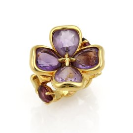 Chanel Camellia 18k Yellow Gold Amethyst Flower Ring Size 6