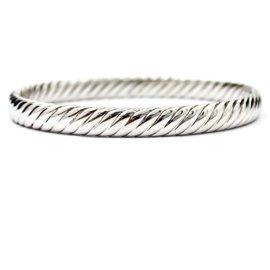 David Yurman 925 Sterling Silver and 18K White Gold Cable Classics Bangle Bracelet