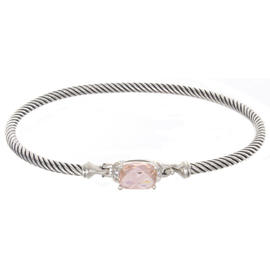David Yurman 925 Sterling Silver Pink Stone Cable Bangle