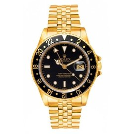 Rolex GMT Master 16758 18K Yellow Gold Jubilee Black Dial Automatic 38mm Mens Watch