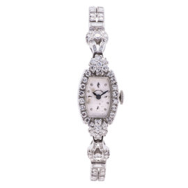 Hamilton Antique White Gold and 5.52ct Diamond 16mm Womens Watch
