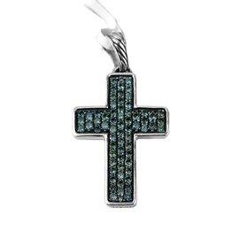 David Yurman 925 Sterling Silver Garnet Cross Chain Necklace