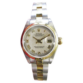 Rolex Oyster Perpetual Datejust Yellow Gold And Steel With Roman Numerals 25mm Womens Watch