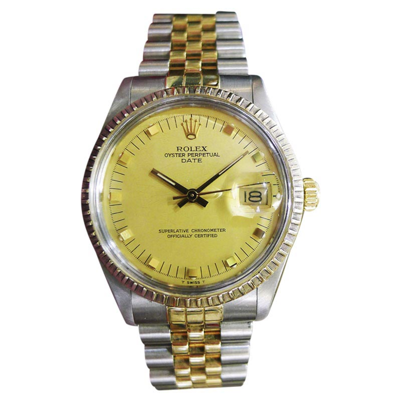 """Image of """"Rolex Date Yellow Gold and Stainless Steel Vintage 34mm Mens Watch"""""""