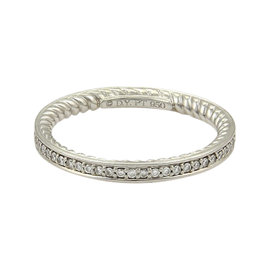 David Yurman Platinum Half Circle 0.30ct. Diamond Cable Wire Band Ring Size 7