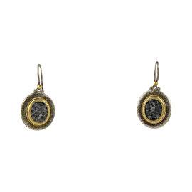 Gurhan 925 Sterling Silver & 24K Yellow Gold Moonscape Sliced Diamond Hook Dangle Earrings