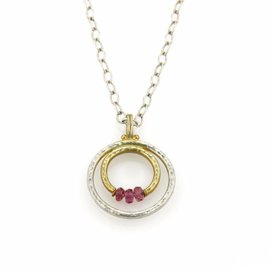 Gurhan 925 Sterling Silver & 24K Yellow Gold Glow Pink Tourmaline Layered Gold 2 Hoop Pendant Necklace