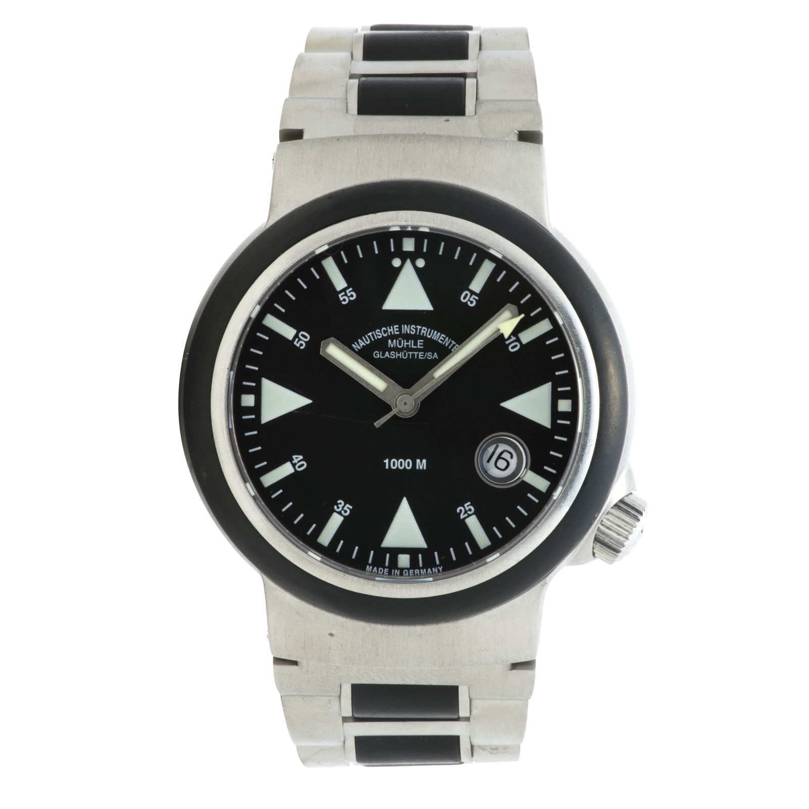 "Image of ""Glashutte Muhle M1-41-03 Stainless Steel & Rubber Black Dial Automatic"""