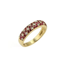 LeVian 18K Yellow Gold Diamond & Ruby Dome Band Ring Size 7