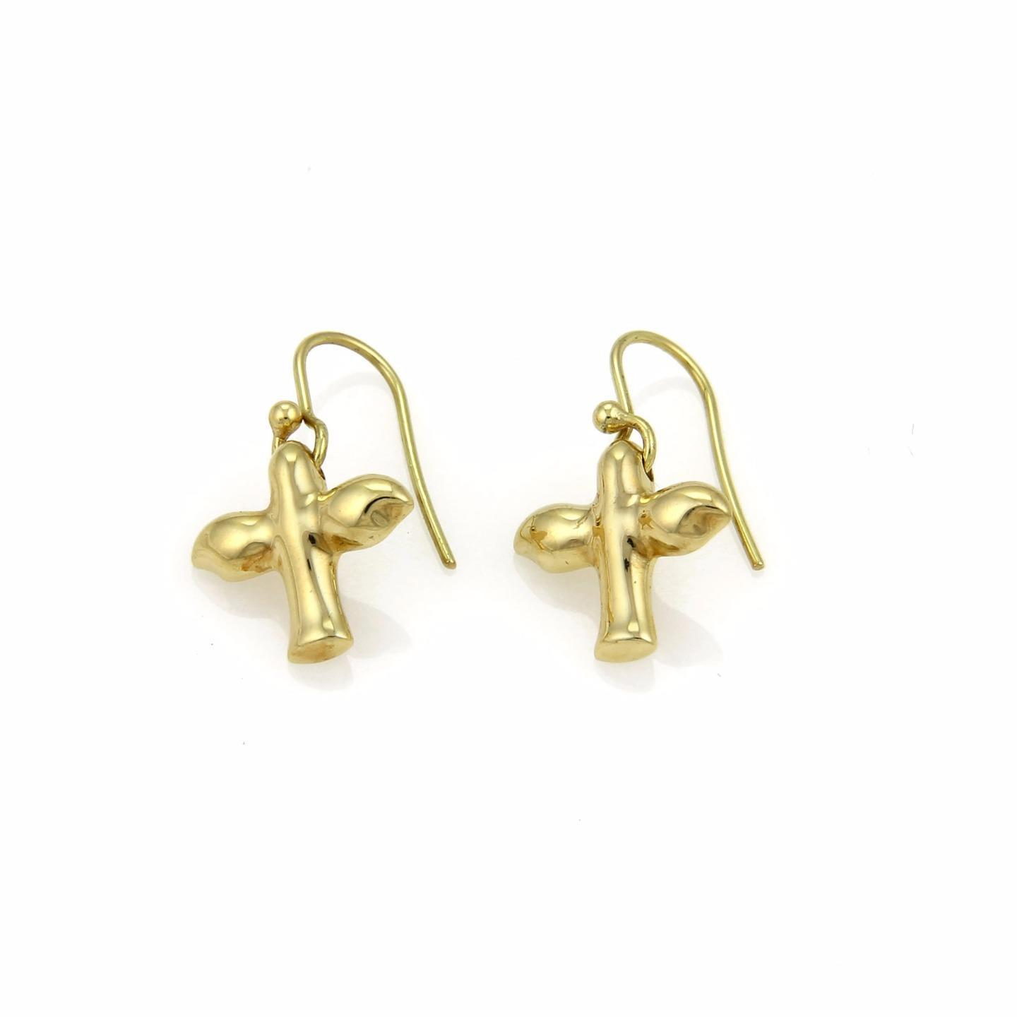 "Image of ""Tiffany & Co. Peretti 18K Yellow Gold Dove Hook Dangle Earrings"""