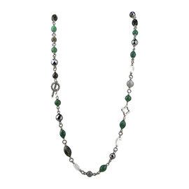 David Yurman 925 Sterling Silver 18K Yellow Gold Green Onyx, Hematite, Quartz Bead Necklace