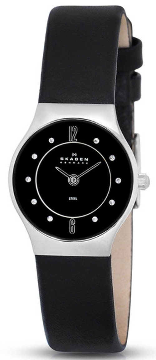 "Image of ""Skagen Denmark 233Xsslb Stainless Steel Black Dial 28mm Womens Watch"""